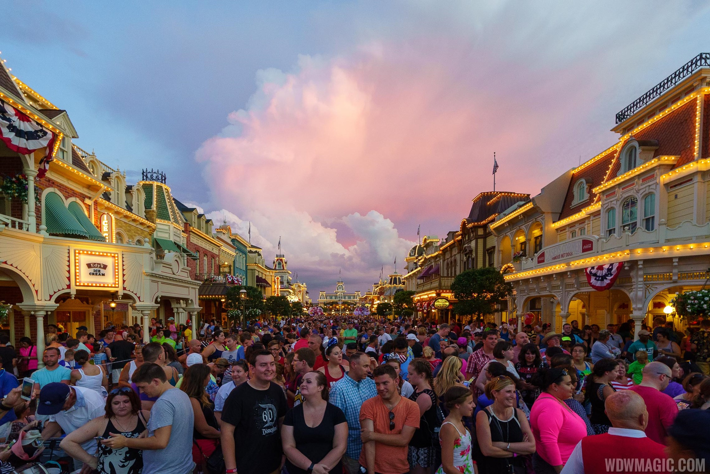 Magic Kingdom guests wait for July 4 Fireworks