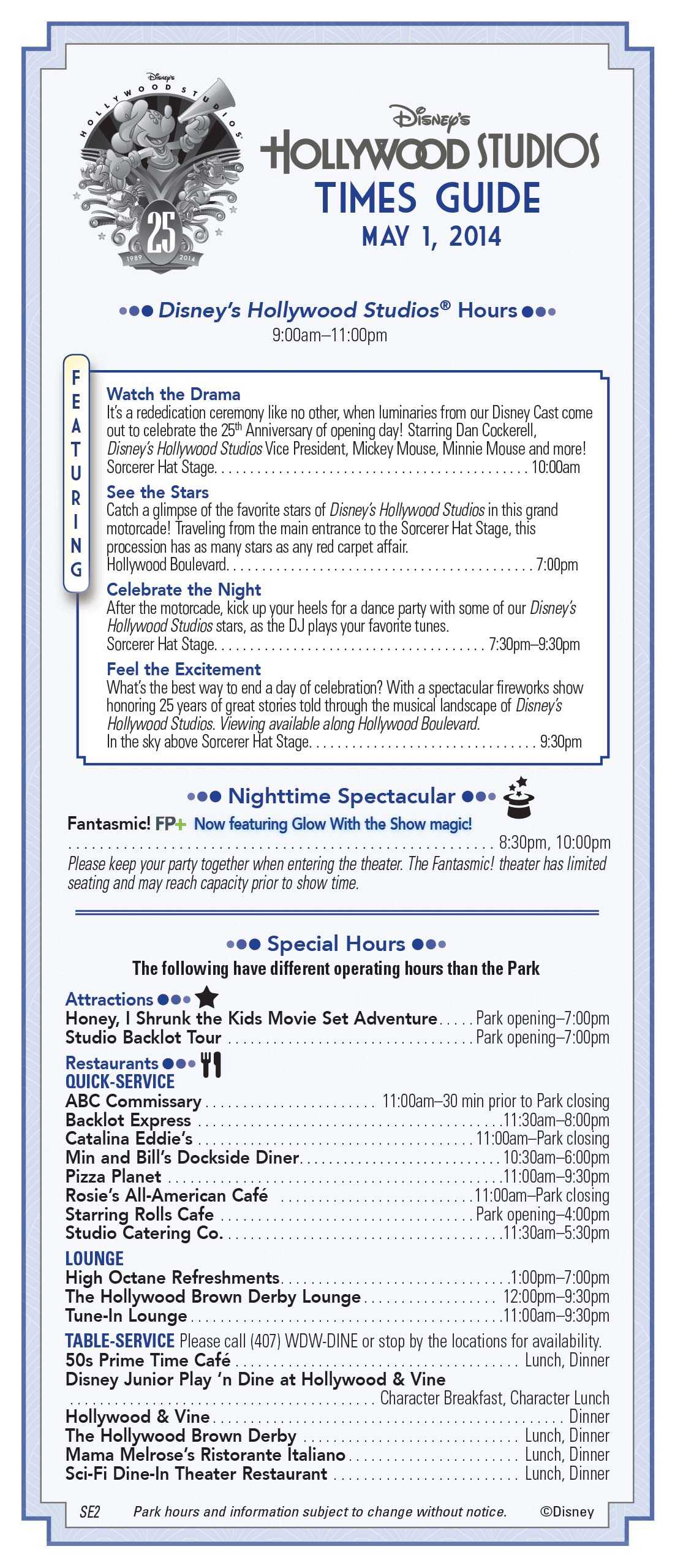 Disney's Hollywood Studios 25th Anniversary times guide front