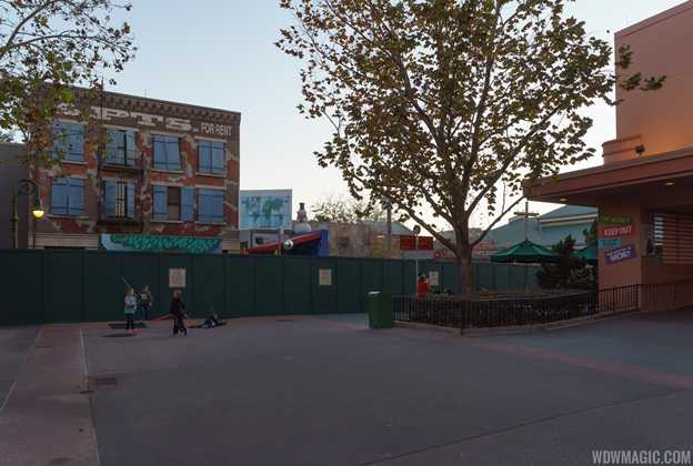 Construction walls at the back of the Streets of America
