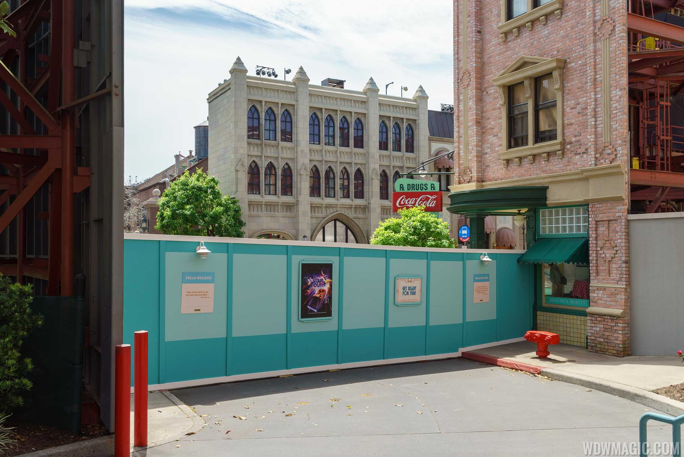 The wall as of Sunday, but now features Star Wars Land concept art