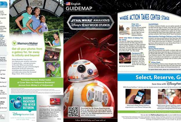April 2016 Disney's Hollywood Studios guide map with backlot area removed