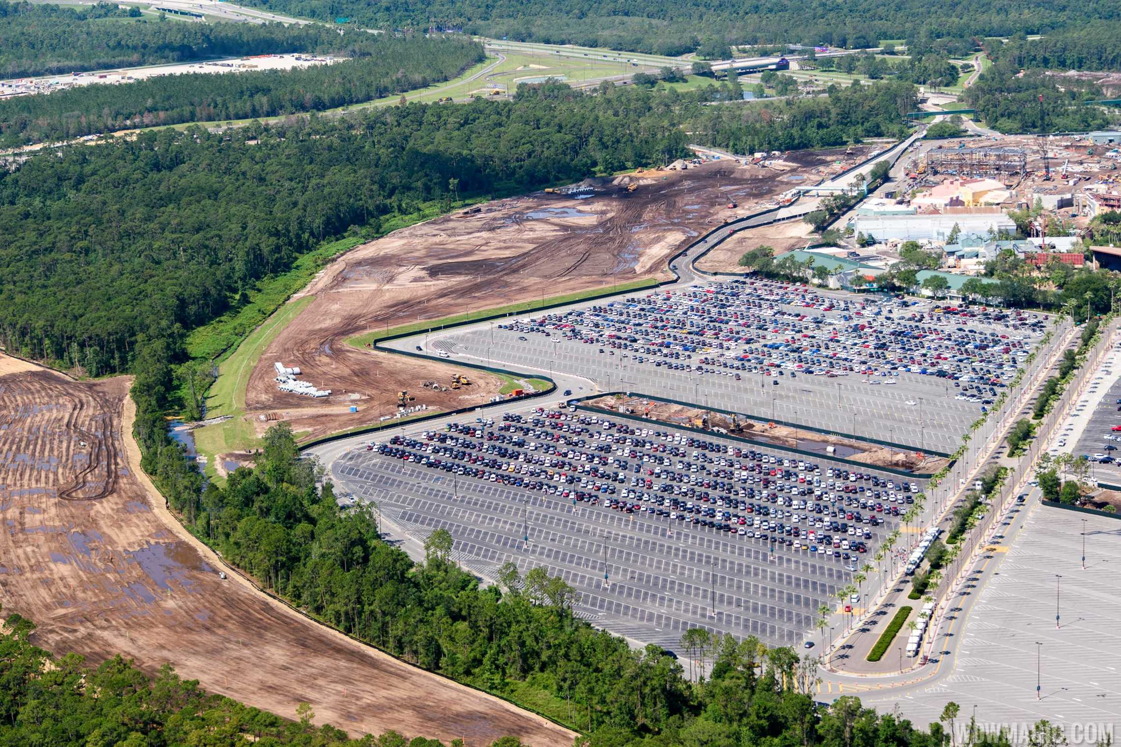 Parking lot expansion and new entry road at Disney's Hollywood Studios