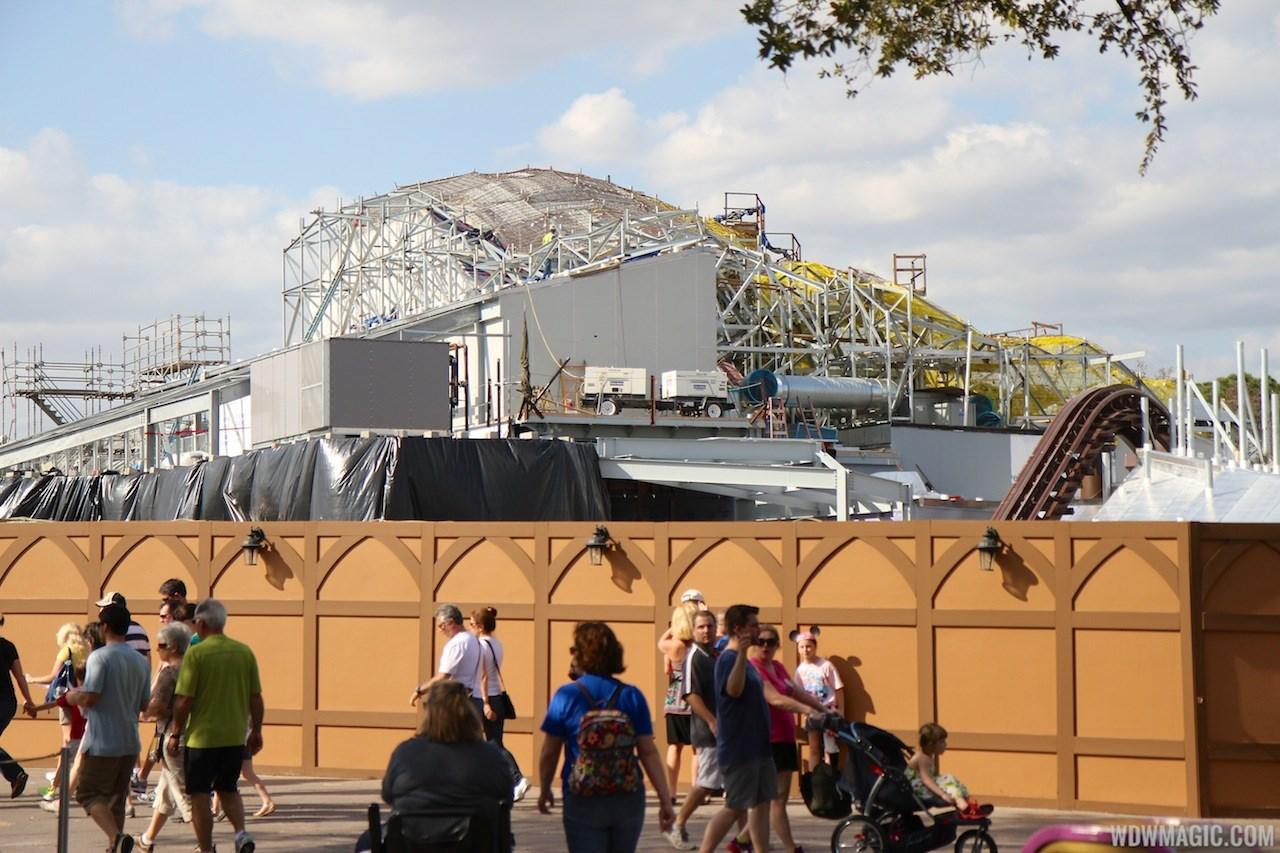 Seven Dwarfs Mine Train coaster construction