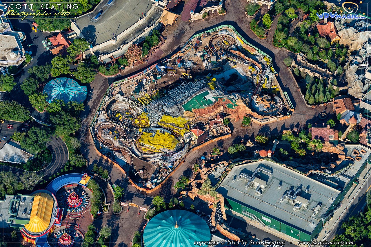 Aerial view of Seven Dwarfs Mine Train construction site