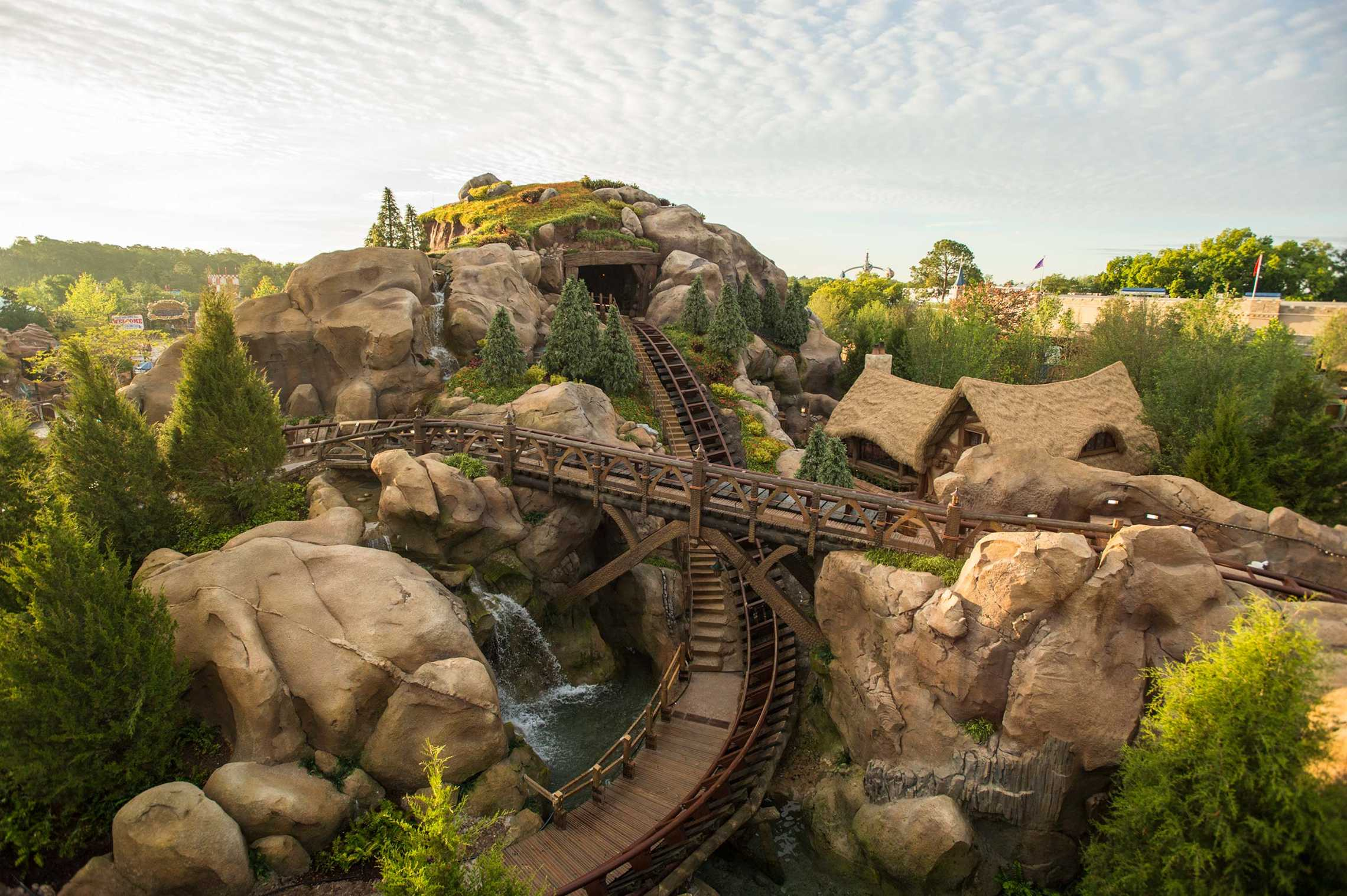 Overhead view of the Seven Dwarfs Mine Train coaster