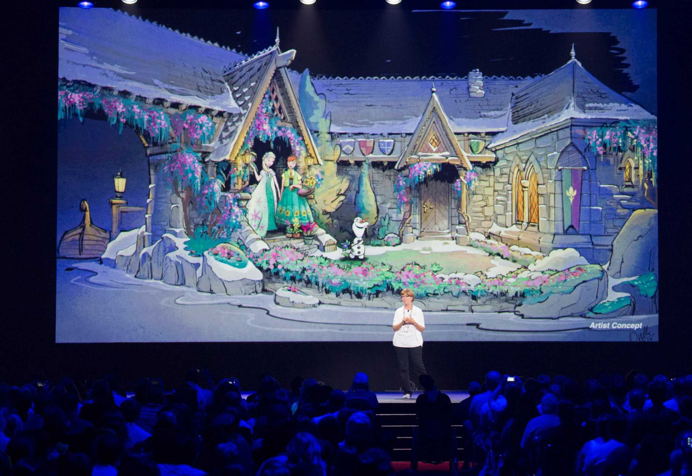 Imagineer Kathy Mangum showing Frozen Ever After concept art at D23