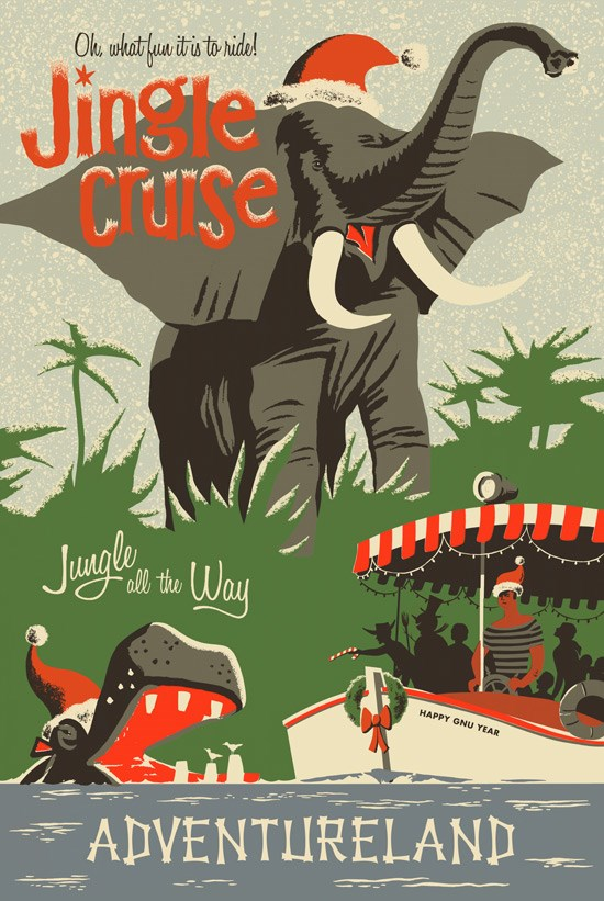 Jingle Cruise poster and props