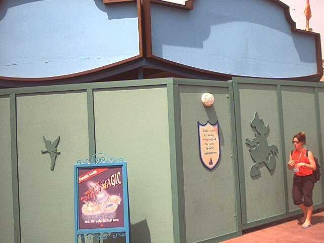 Construction walls around the theater