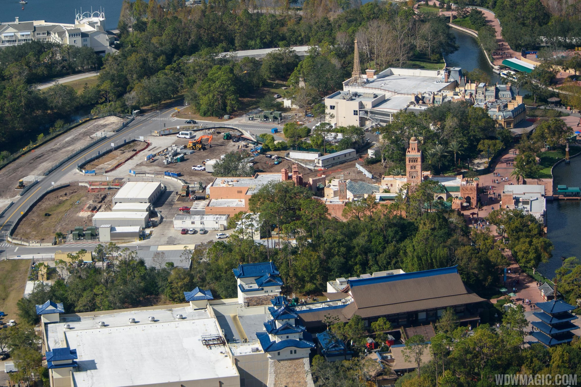 PHOTO - Aerial view of the Ratatouille construction site at Epcot