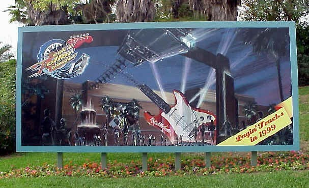 Main entrance billboard announcing Rock n Roller Coaster