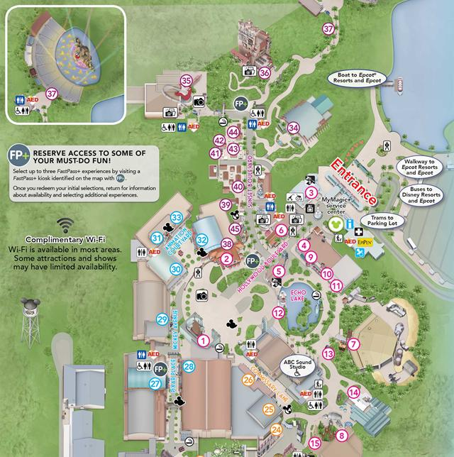 PHOTO New Hollywood Studios guide map shows a hatless Hollywood – Hollywood Tourist Map