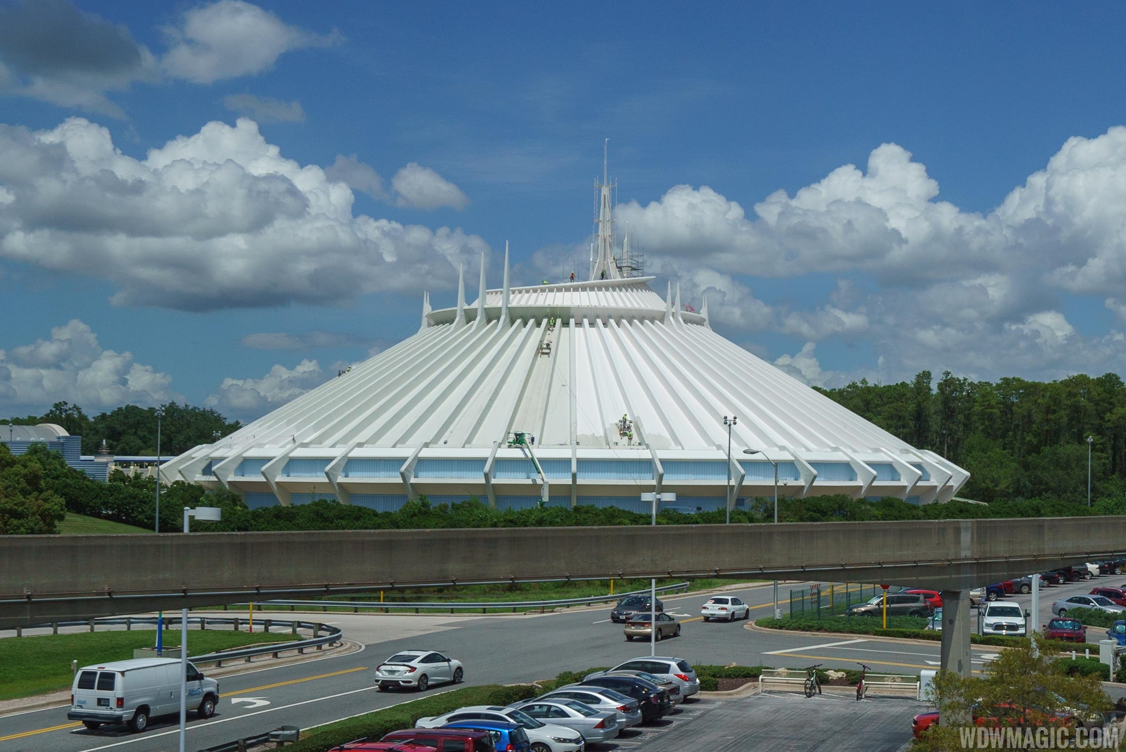 Space Mountain exterior paint work
