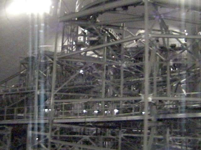 Space Mountain track photos with work lights on