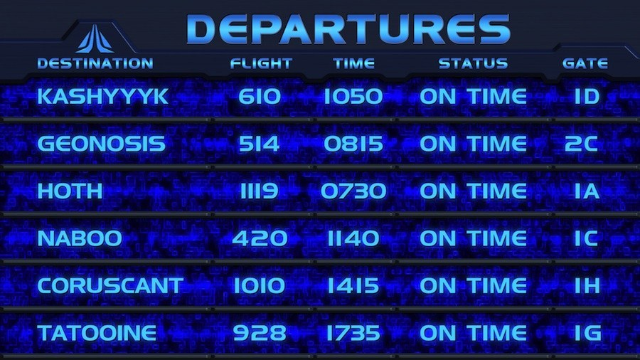 Star Tours II departures board - part 2