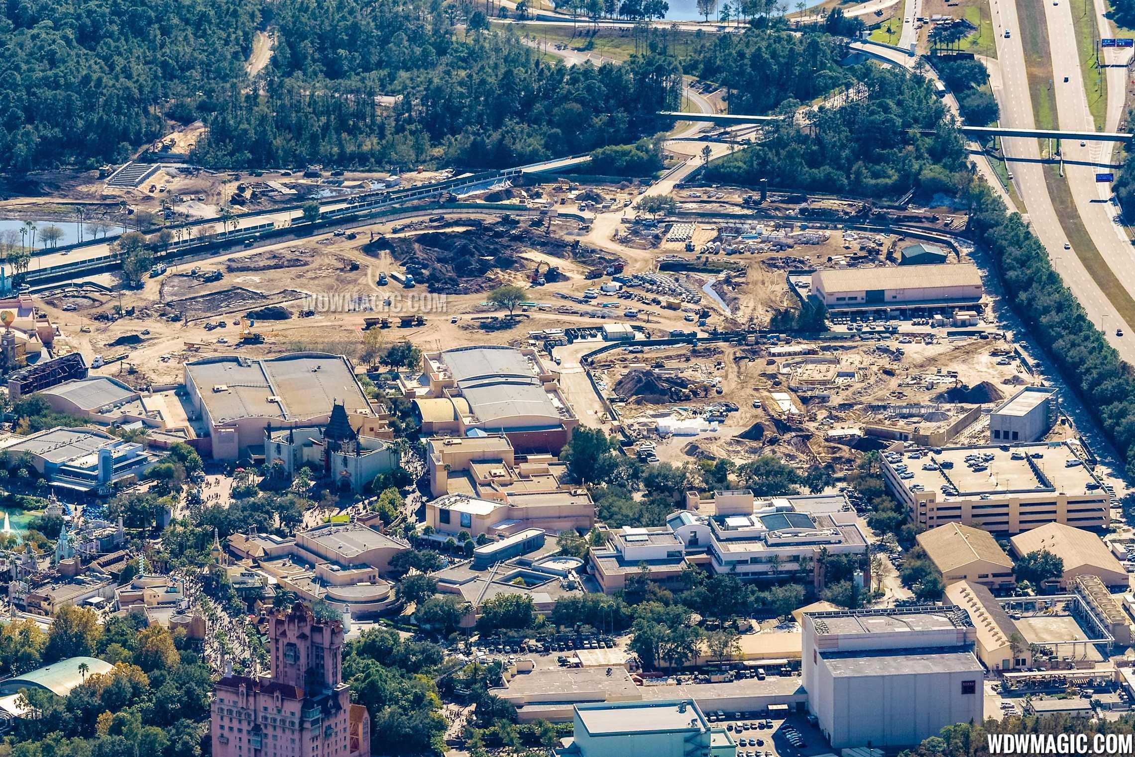 Photo by CJ Berzin @BerzinPhotography. Star Wars Land aerial view.