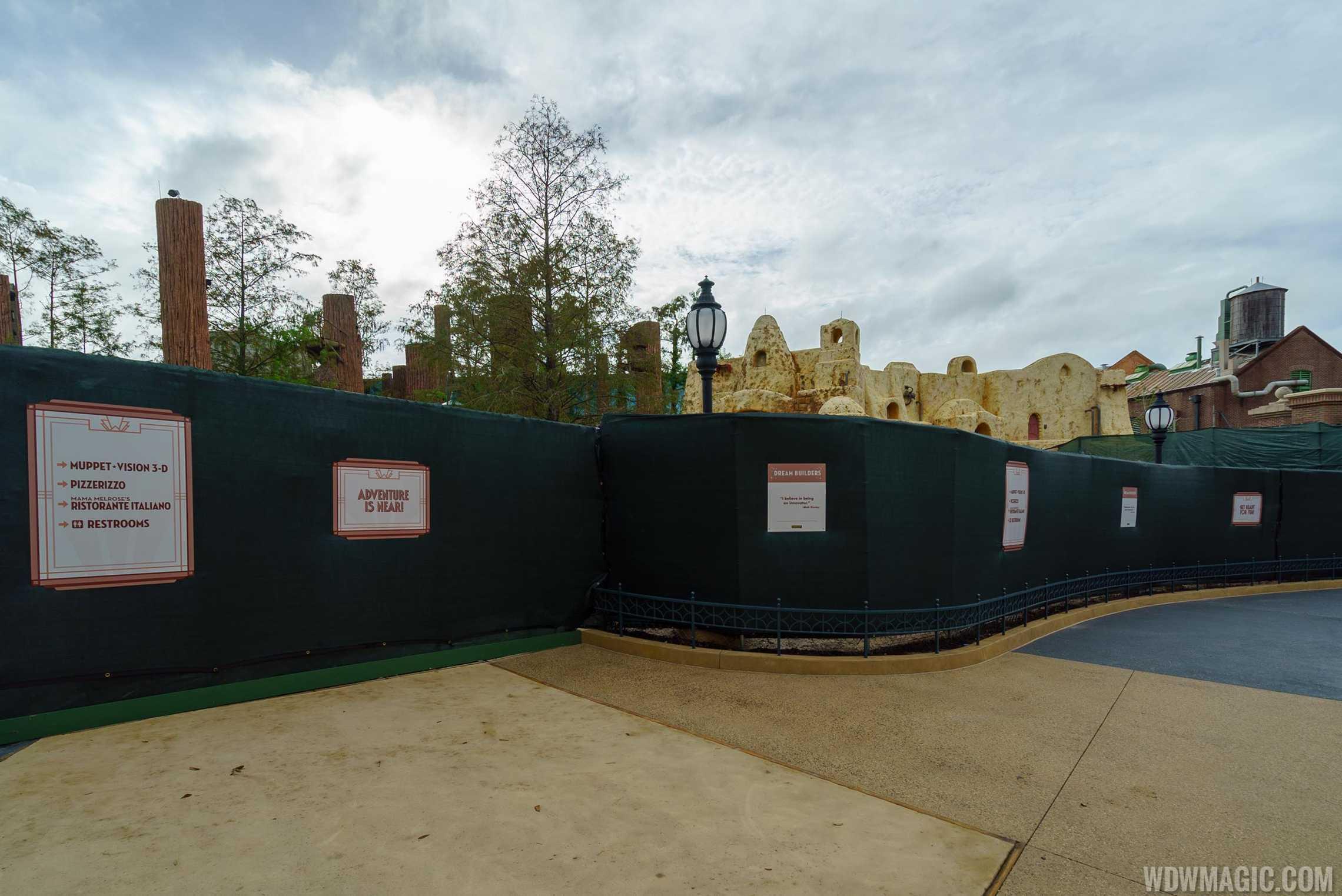 Construction around Entrance to Star Wars Galaxy's Edge