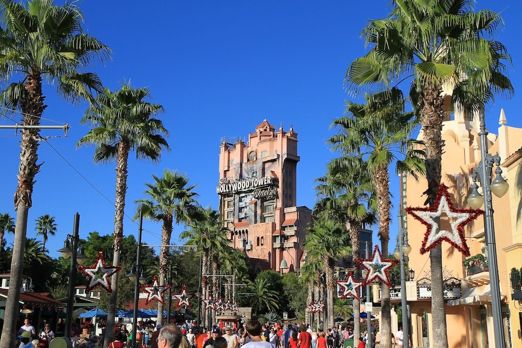 Hollywood Tower of Terror during the Holiday season
