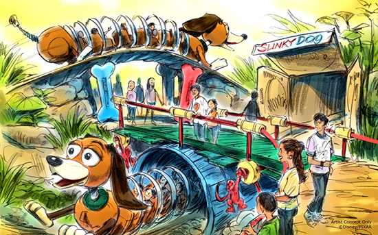 Toy Story Land Slinky Dog coaster concept art