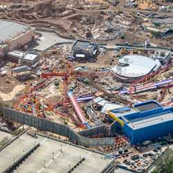 Toy Story Land construction aerial views