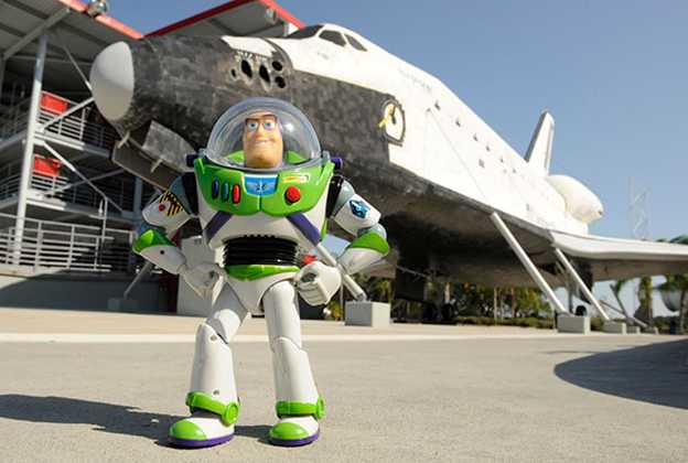 Buzz Lightyear heading into space to celebrate the opening of Toy Story Mania