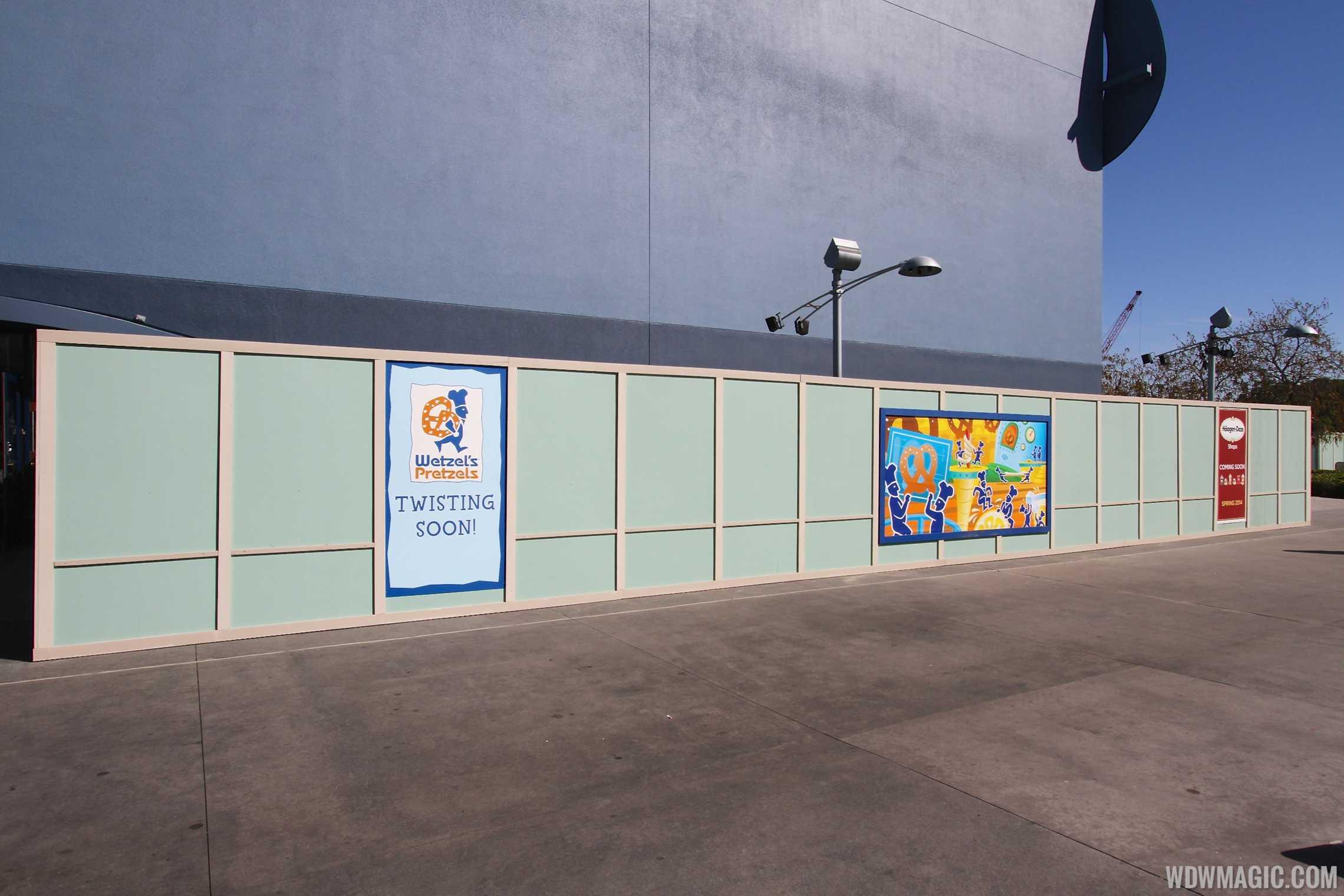 Wetzel's Pretzels and Haagen Dazs kiosks now under construction