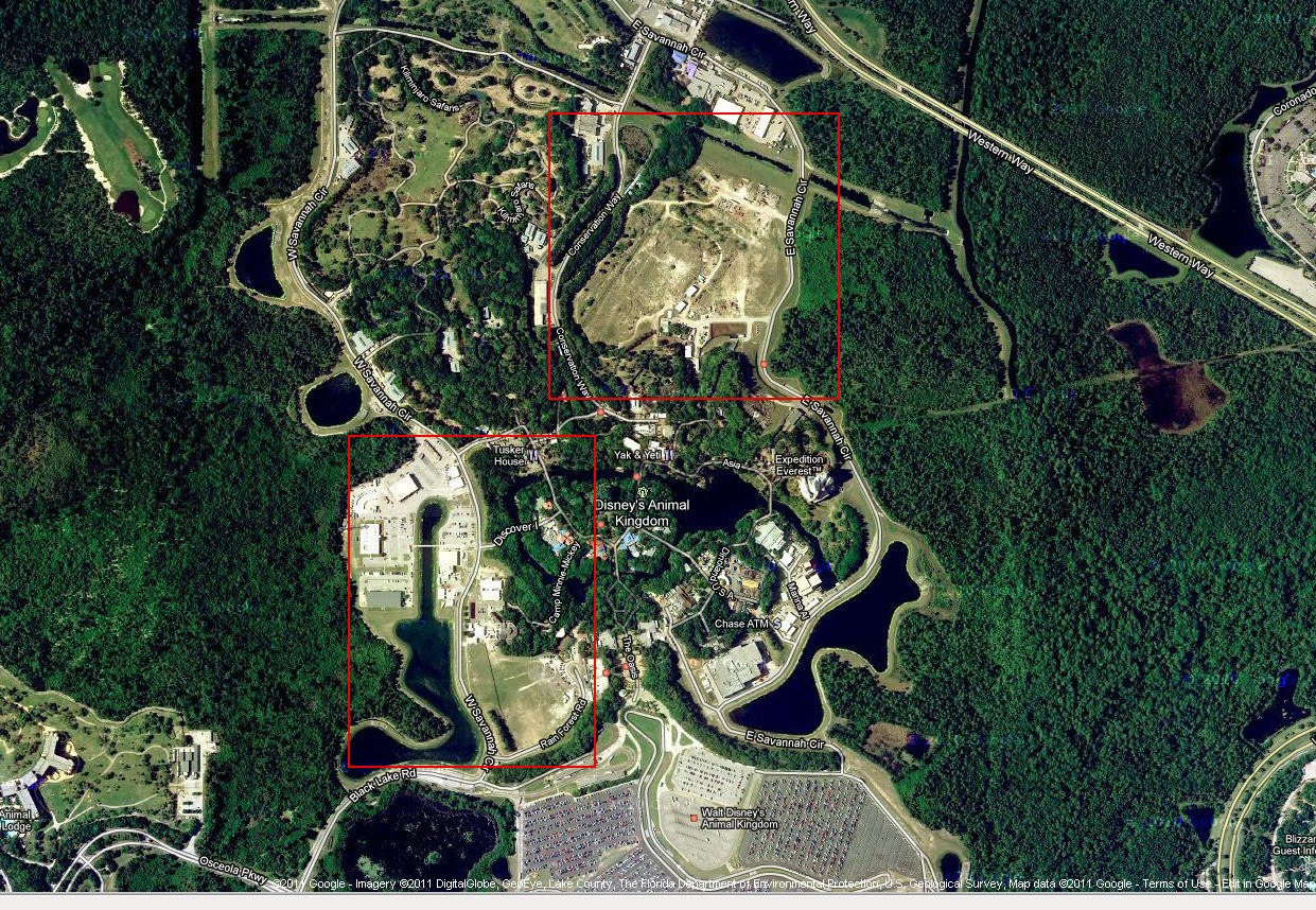 Possible construction sites at Disney's Animal Kingdom