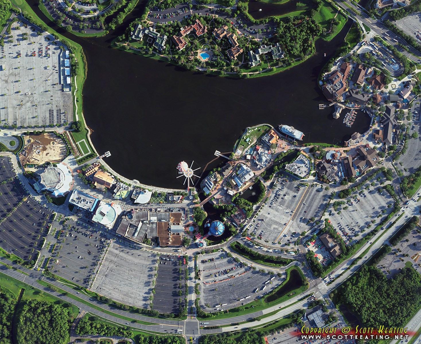 Disney Springs construction aerial views