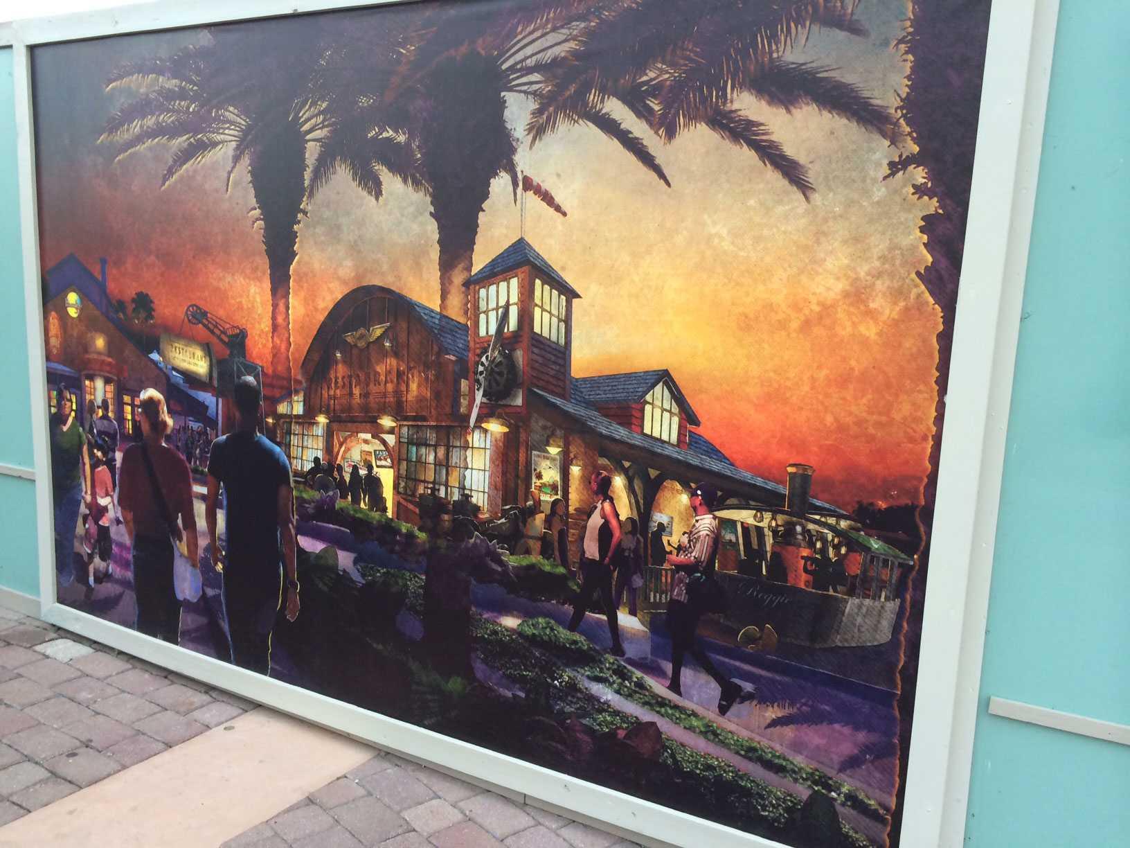 The Hangar restaurant concept art at Disney Springs