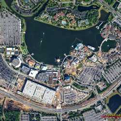 Disney Springs construction aerial view