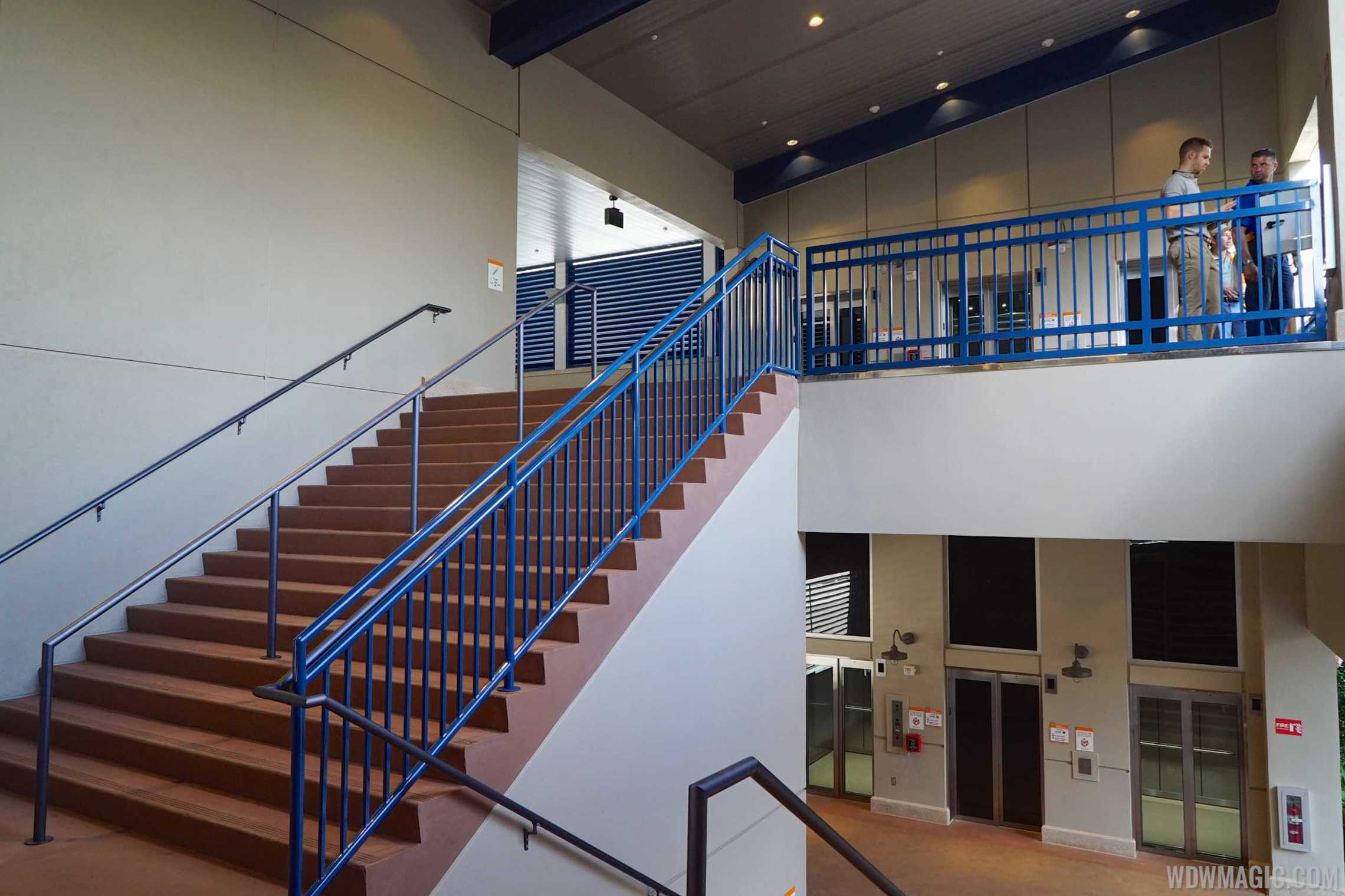 Disney Springs Orange Parking Garage east connector - Stairway to Level 2