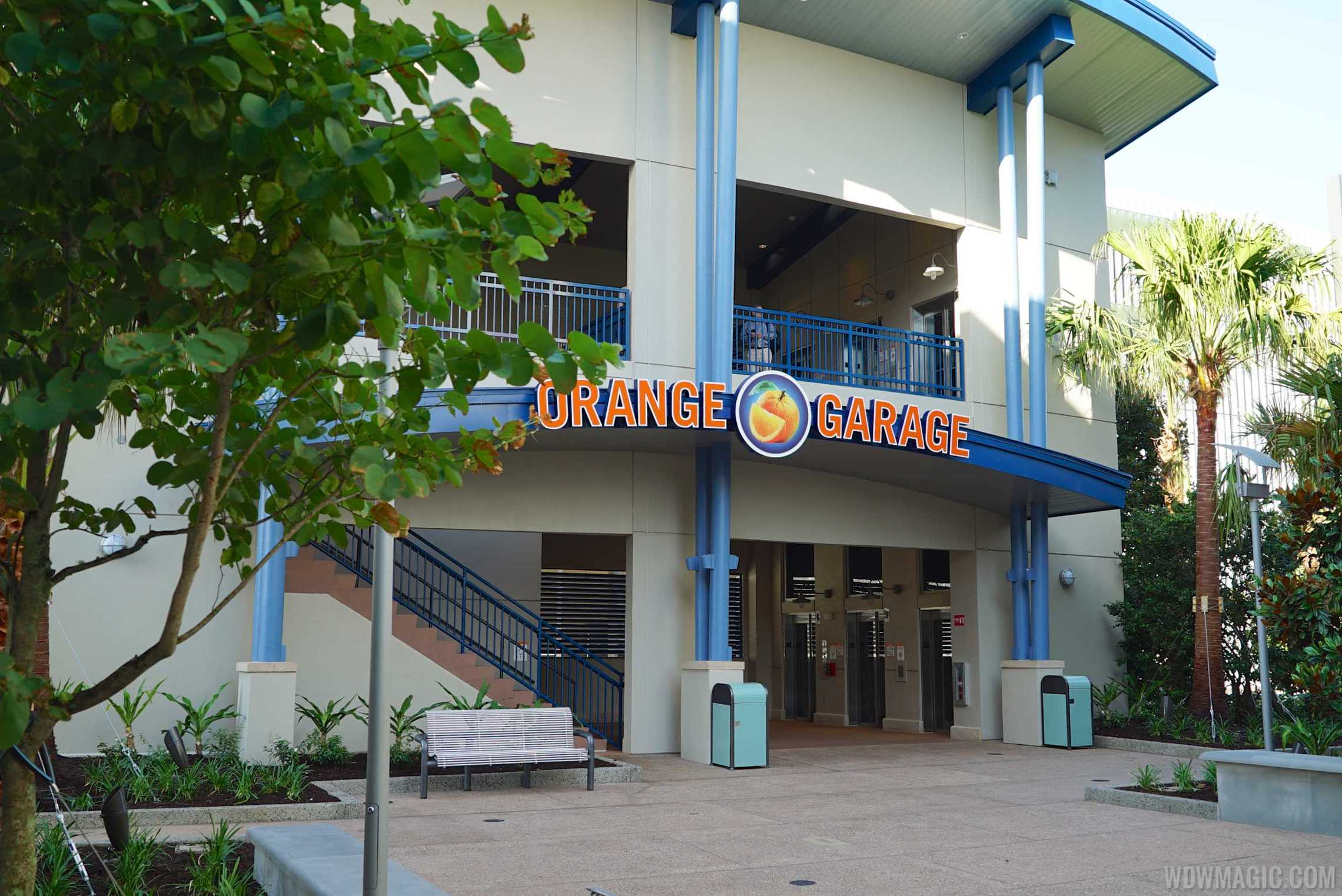 Disney Springs Orange Parking Garage east connector - Exterior ground level