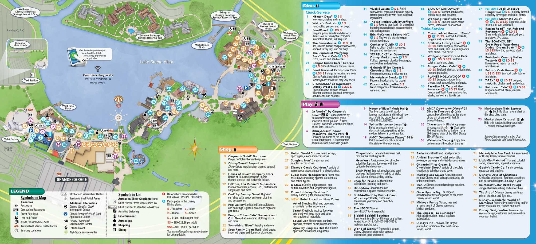 Downtown Disney / Disney Springs August 2015 Guide Map