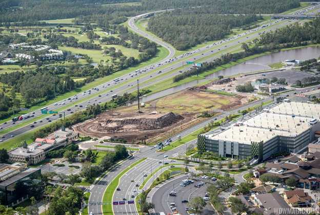 Disney Springs third parking lot construction from the air