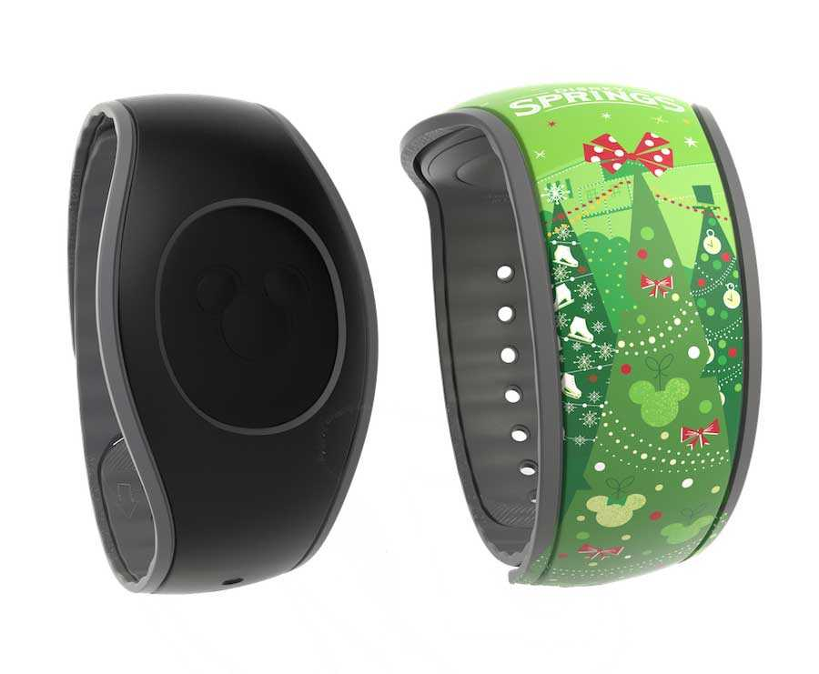 Solid black MagicBand and Disney Springs Holiday MagicBand