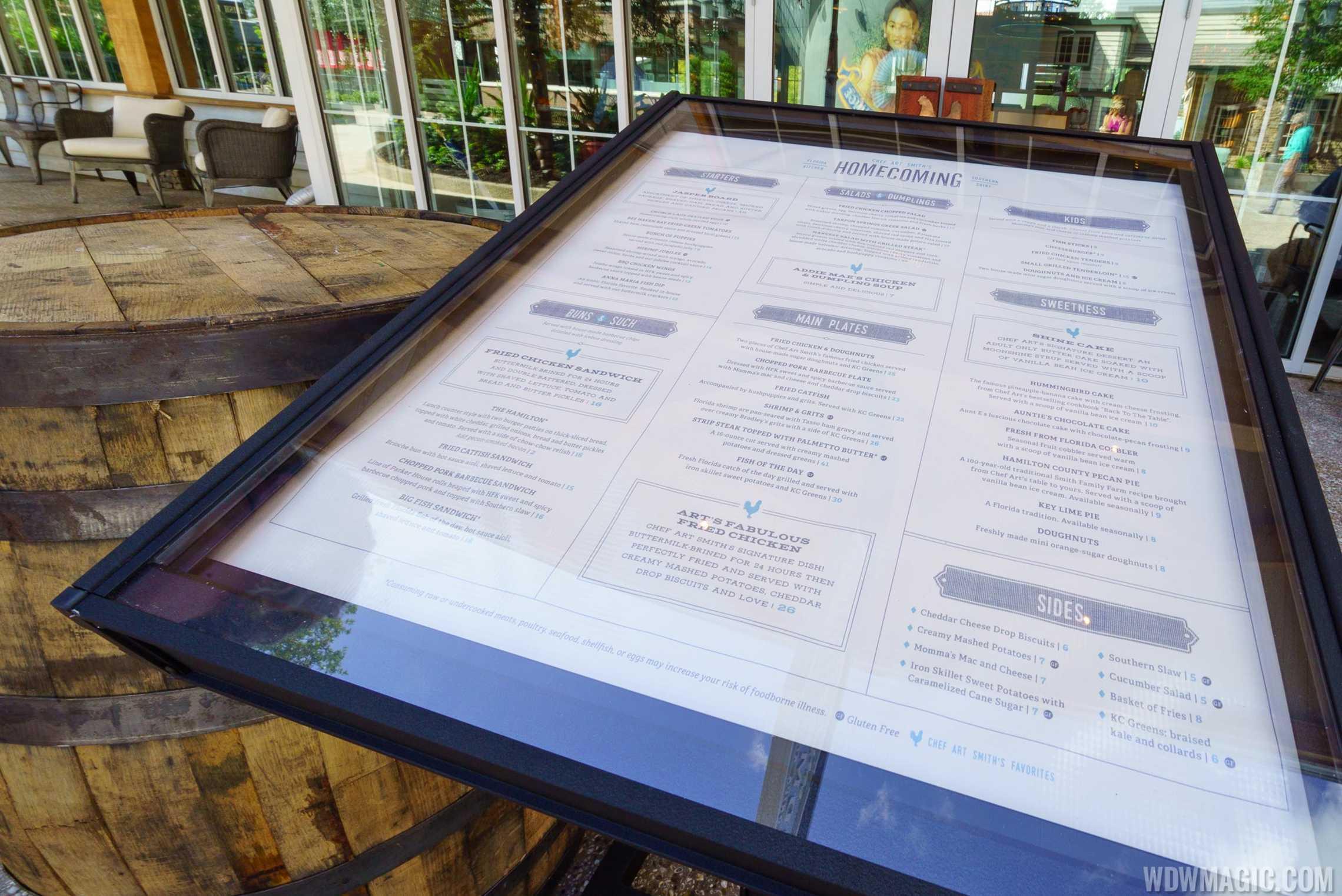 Homecoming restaurant - Menu board