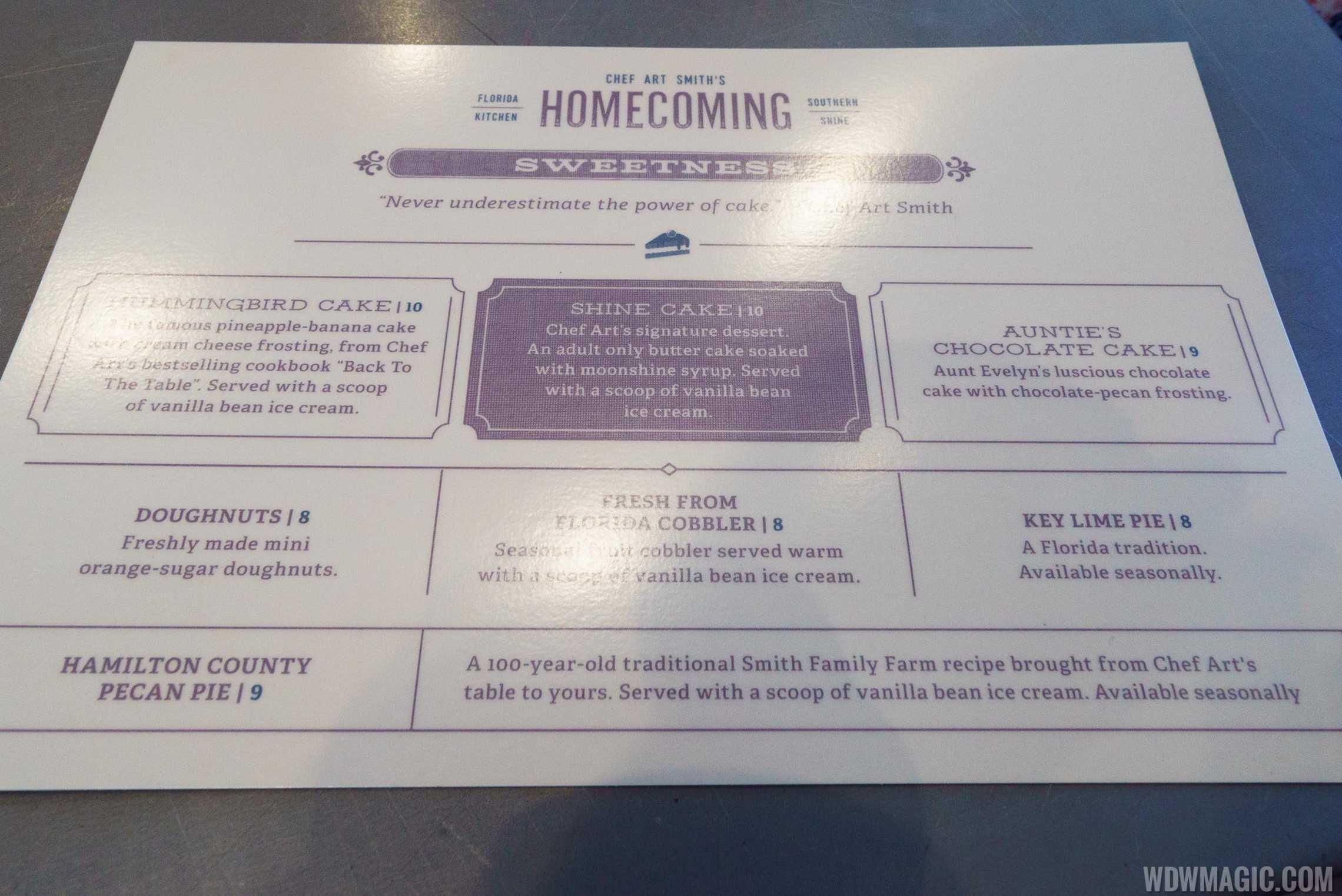 Homecoming restaurant - Dessert menu