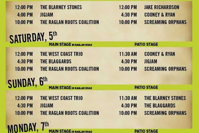 Raglan Road 2015 Great Irish Hooley entertainment schedule