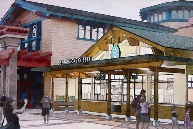 Starbucks Marketplace concept art and construction