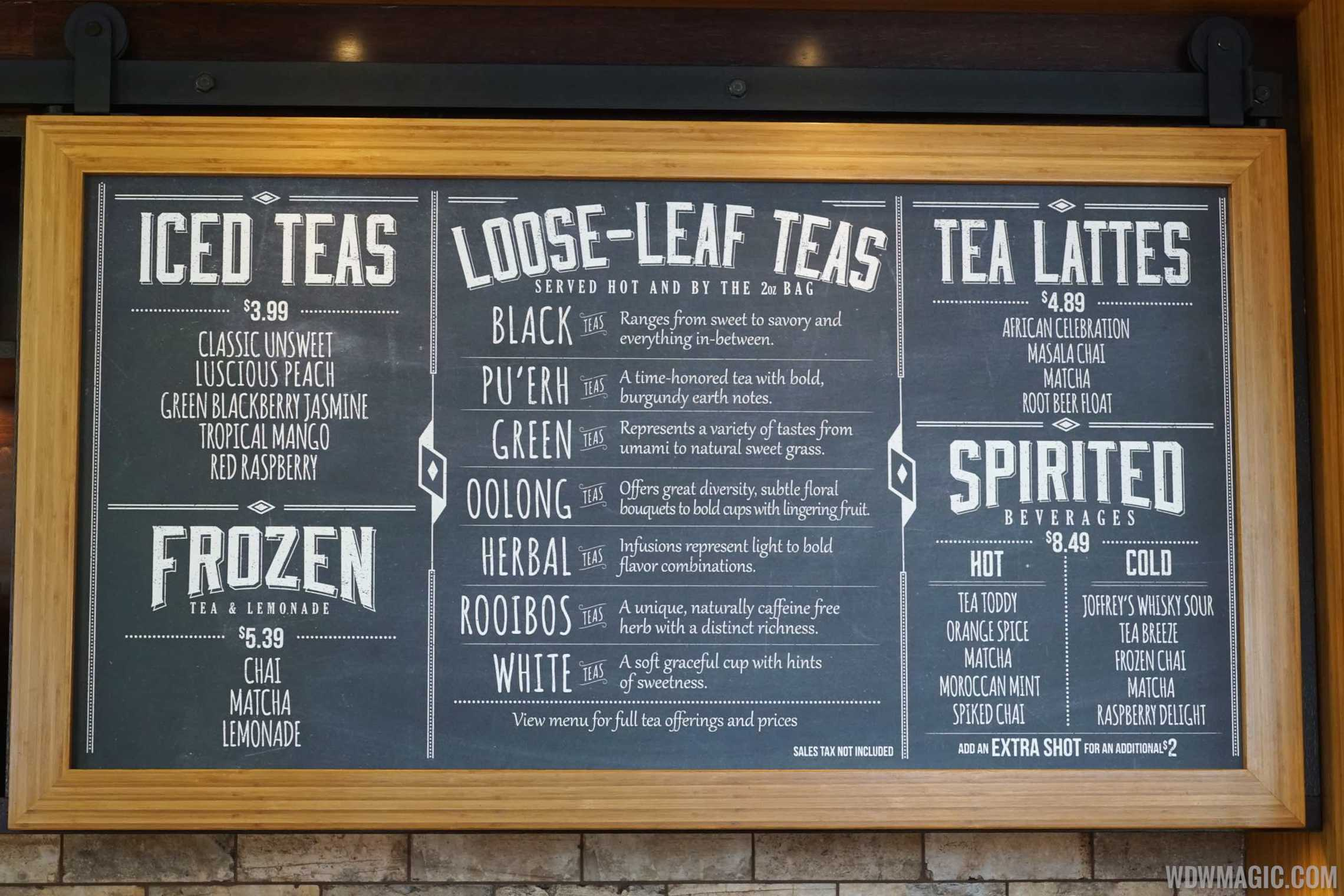 The Tea Traders Cafe - Menu board