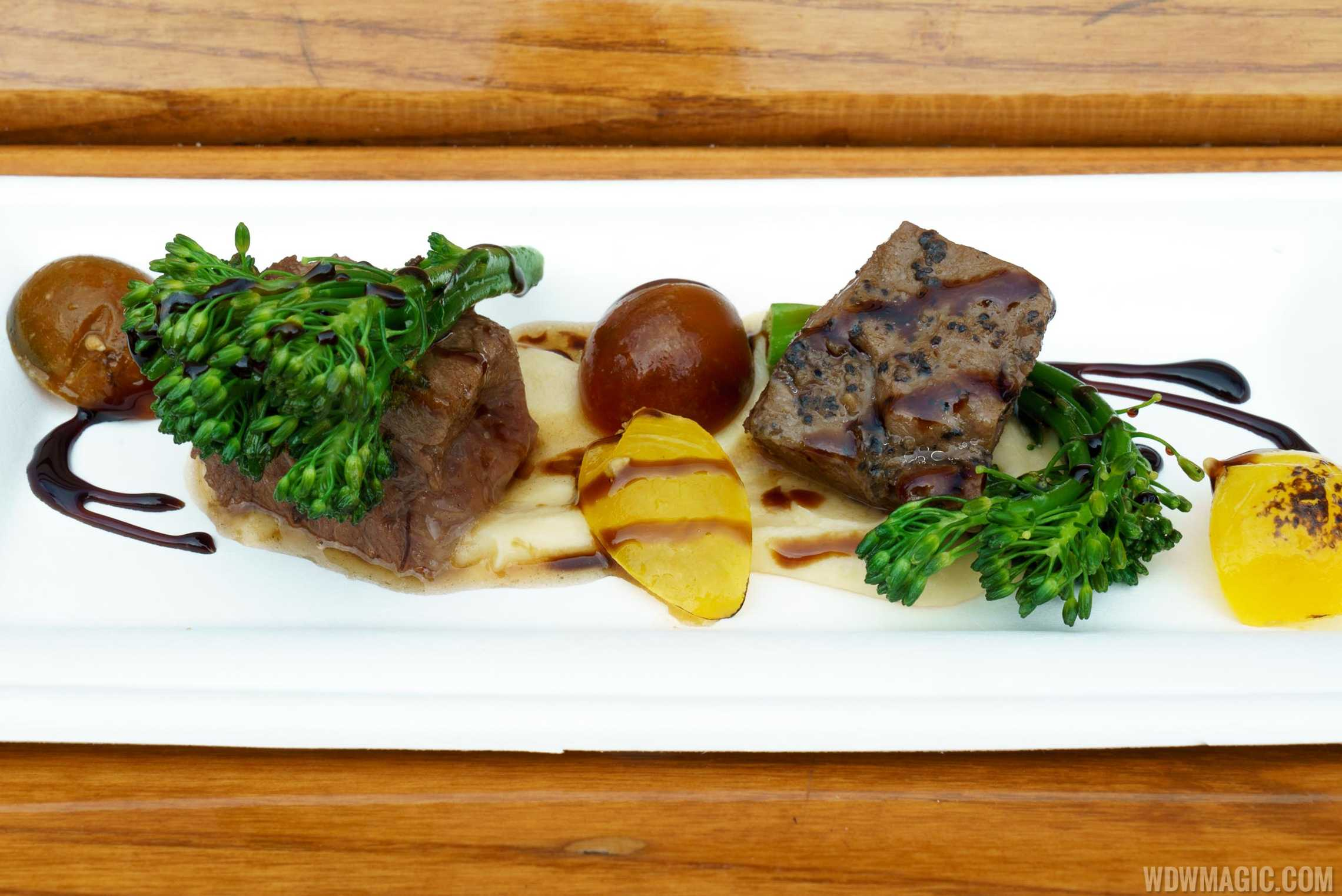 Festival of the Arts Food Studio - Cuisine Classique - Braised Short Rib with Parsnip Purée, Broccolini, Baby Tomatoes and Aged Balsamic