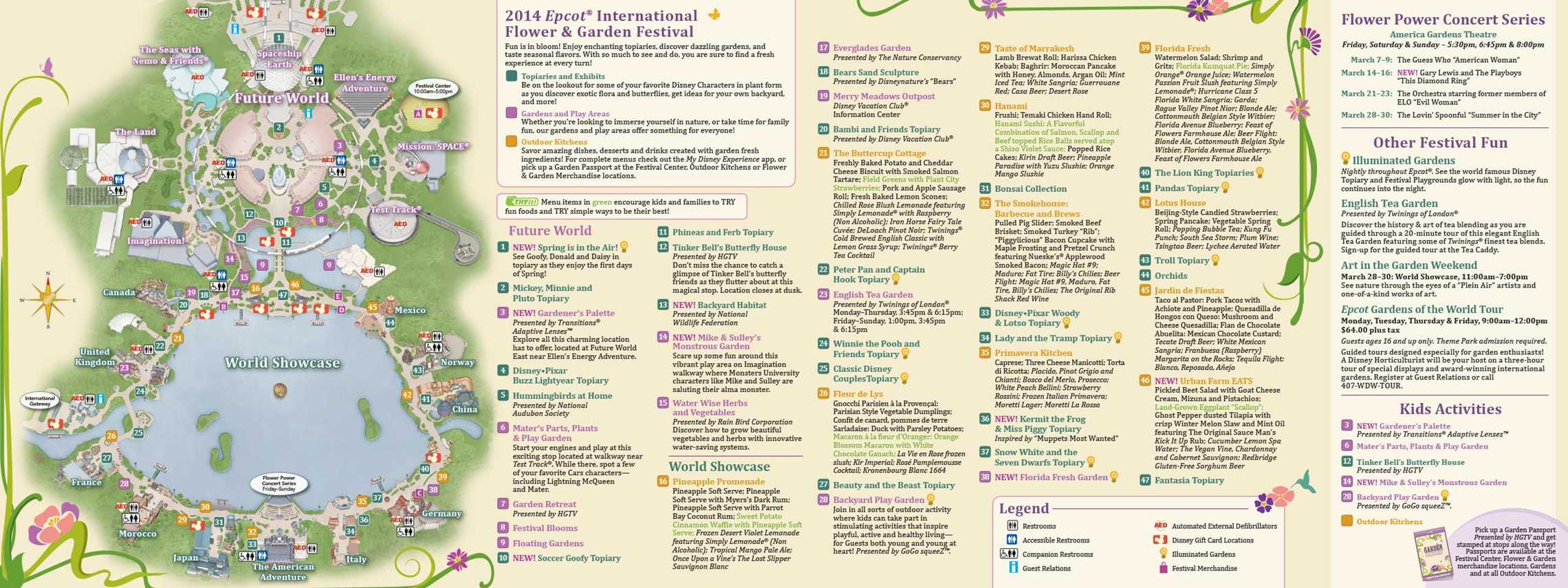 2014 Epcot Flower and Garden Festival guide map