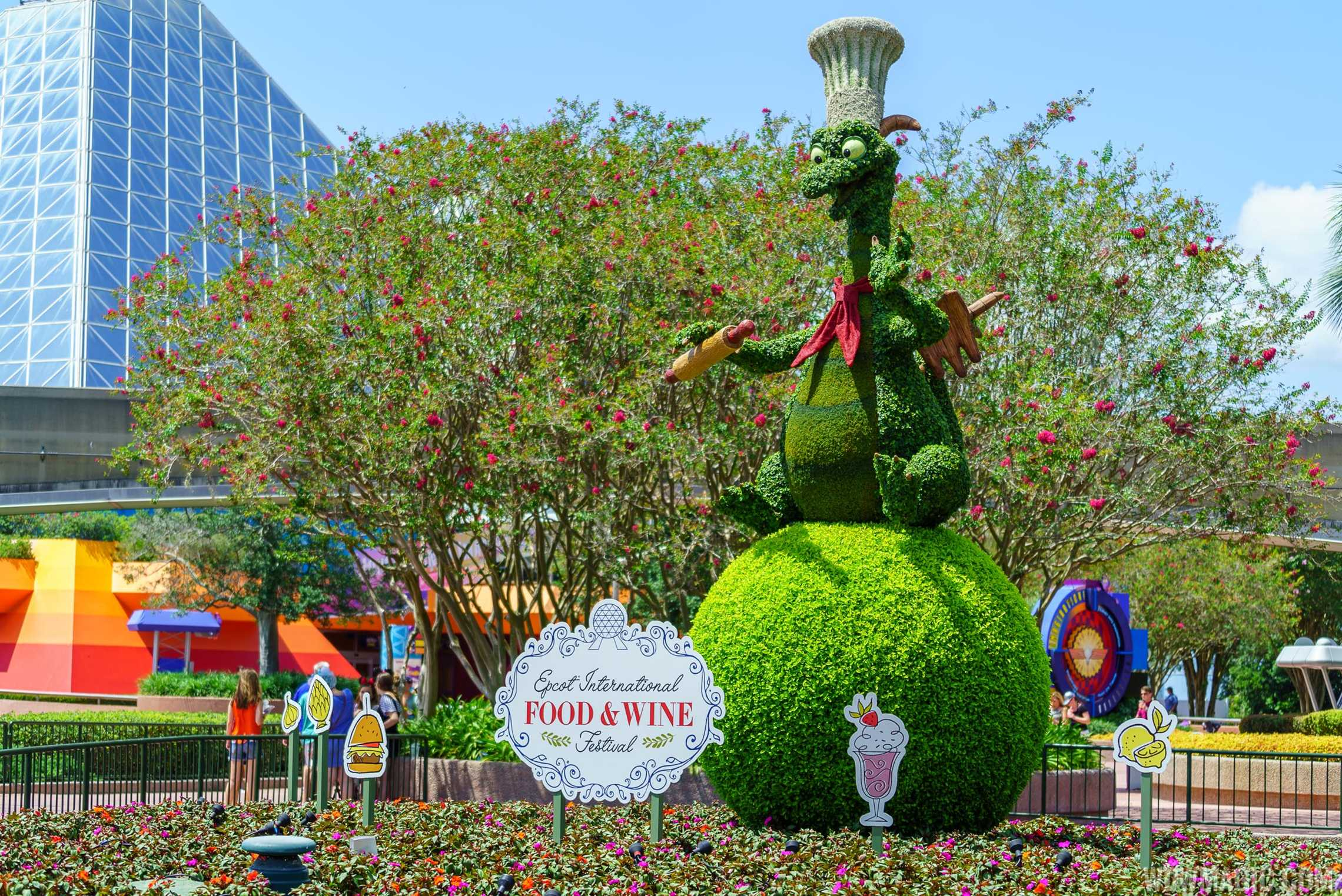Epcot Food and Wine Festival Figment topiary