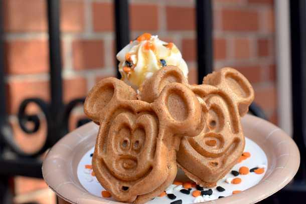 A Pumpkin Mickey Waffle at Sleepy Hollow