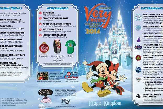 Mickey's Very Merry Christmas Party 2014 guide map