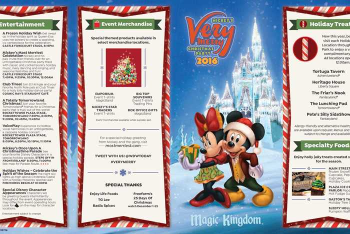 Mickey's Very Merry Christmas Party 2016 guide map
