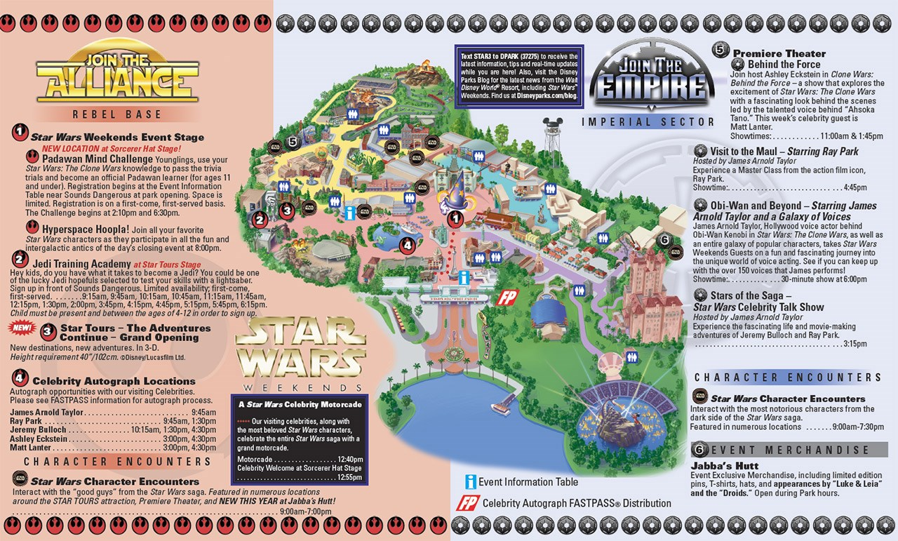 2011 Star Wars Weekends June 3-5 guide map