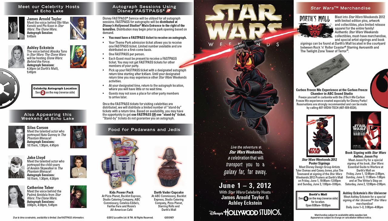 2012 Star Wars Weekends June 1 - June 3 guide map