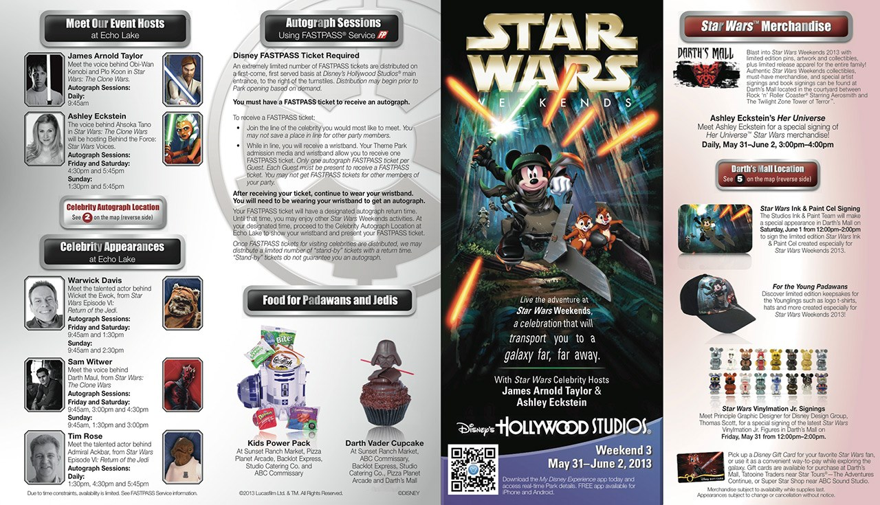 2013 Star Wars Weekends May 31-June 2 guide map