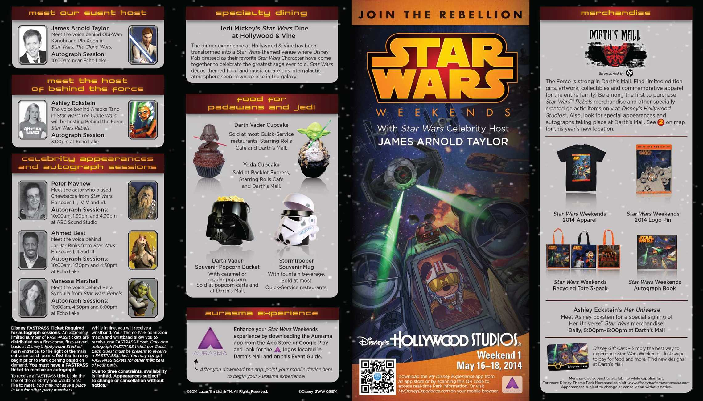 2014 Star Wars Weekends May 16-18 Weekend 1 guide map - front