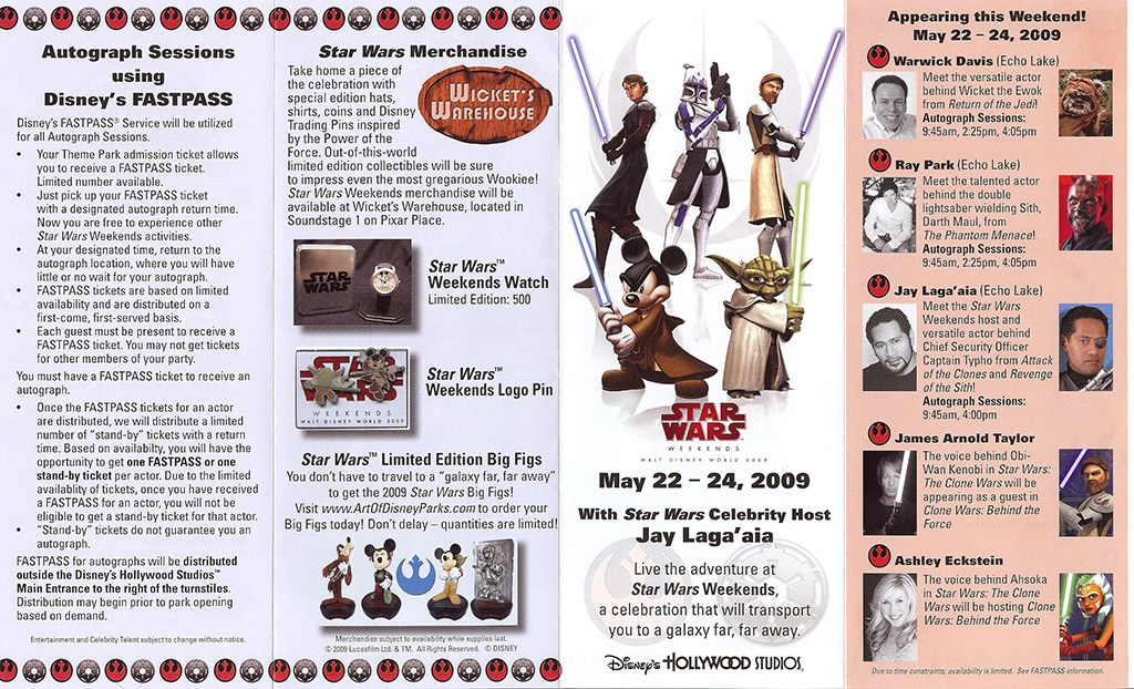 2009 Star Wars Weekends guide map